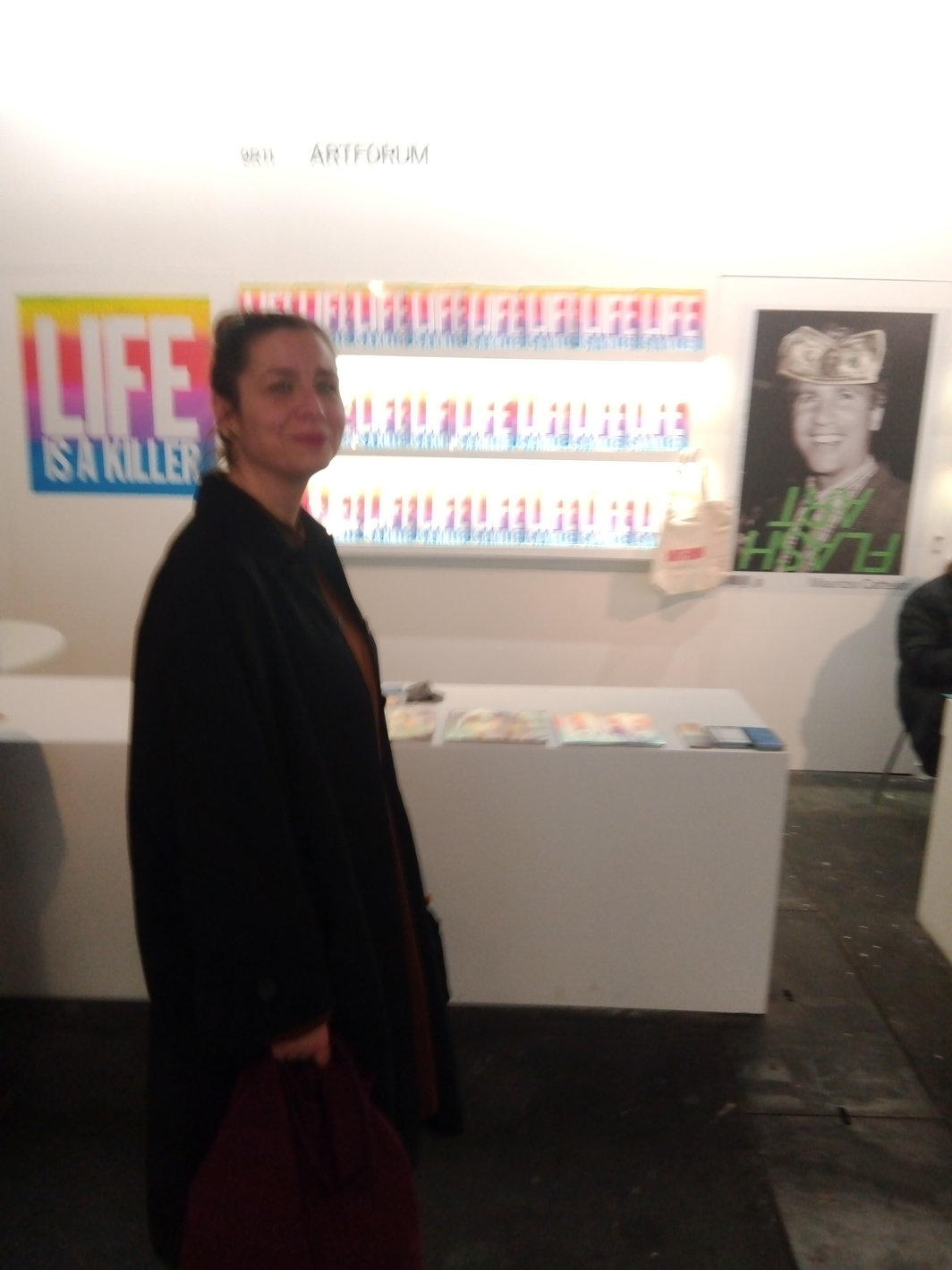Bea Espejo, arts editor at El País, in front of Artforum's stand at ARCO.