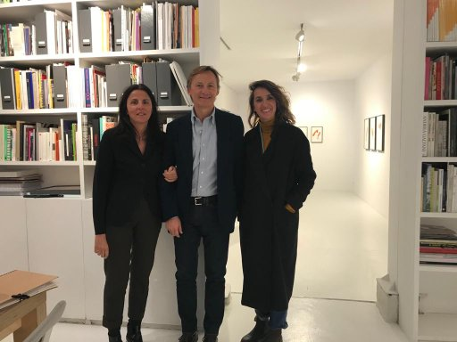Collector Betty Guereta and gallerists Gerard Faggionato and Inés López-Quesada at Travesia Cuatro.
