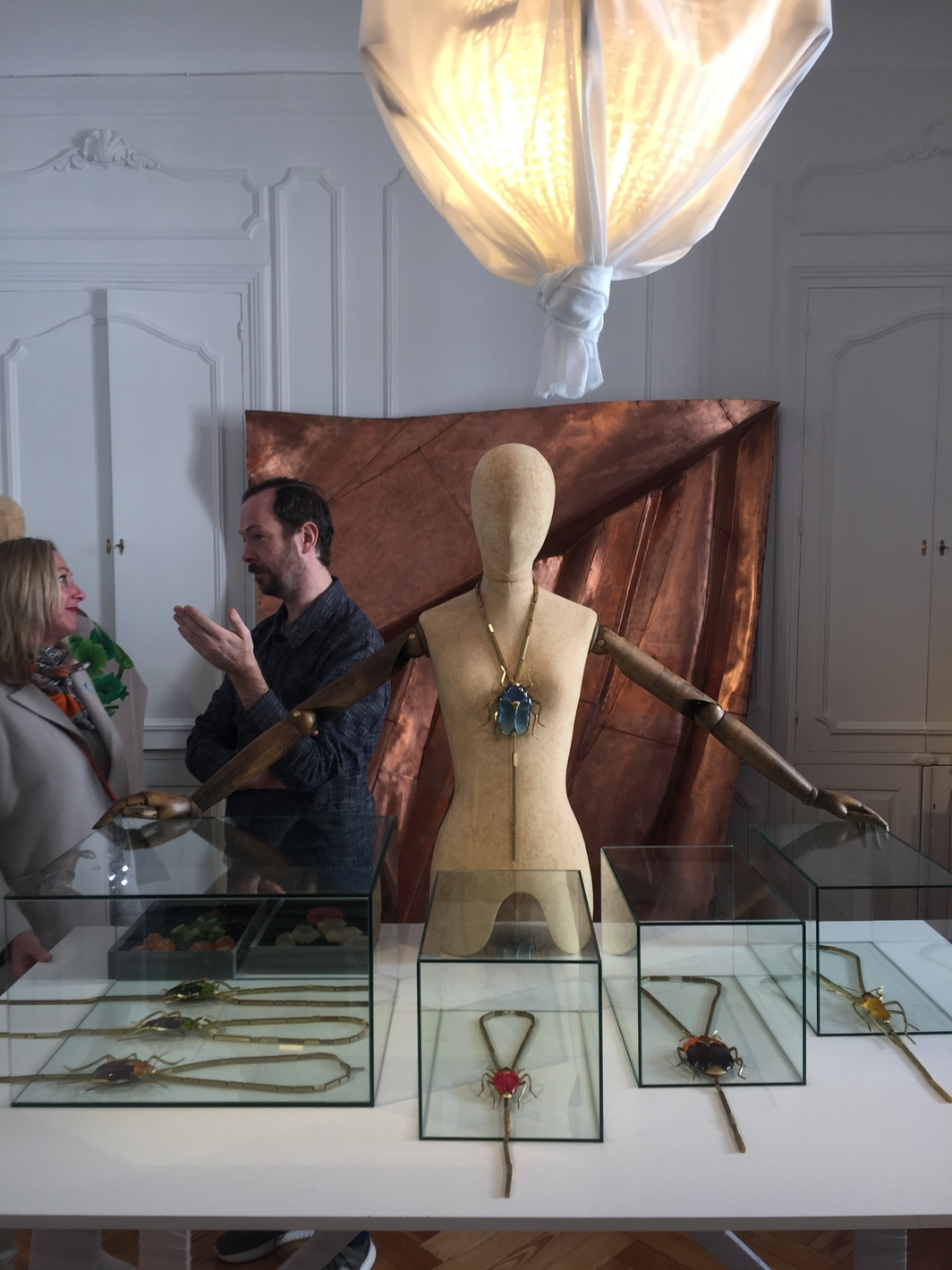 Designer Jan Taminiau showing his work alongside pieces from Juan Várez´s collection.
