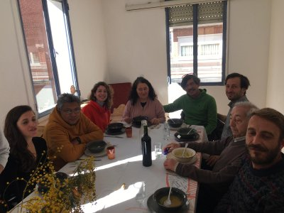 Members of the collective ruangrupa and artist Fernando García-Dory (inland.org) having lunch at the Center for Rural Approach.