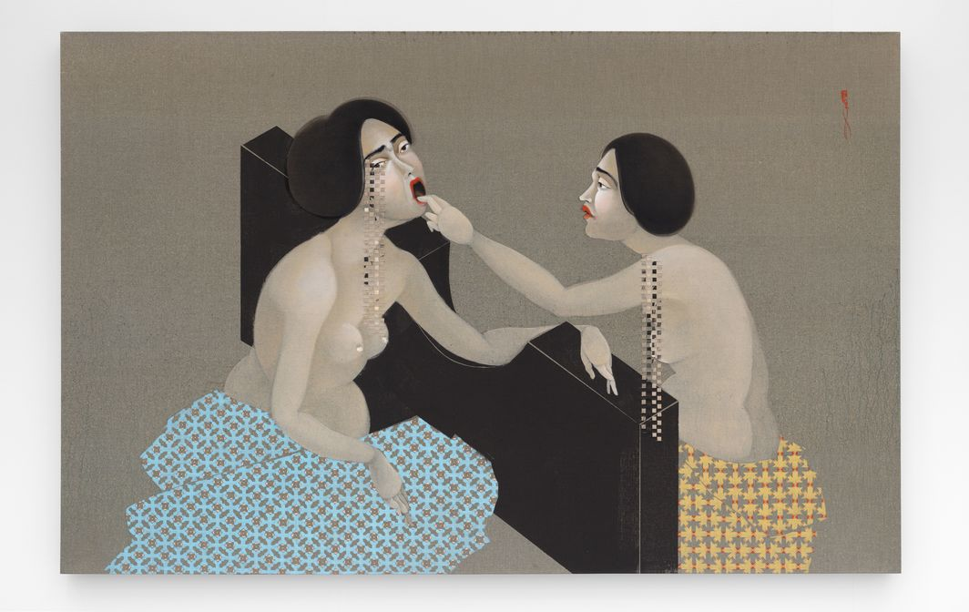 Hayv Kahraman, Barricade 1, 2018, oil on linen, 50 x 78 x 3''.