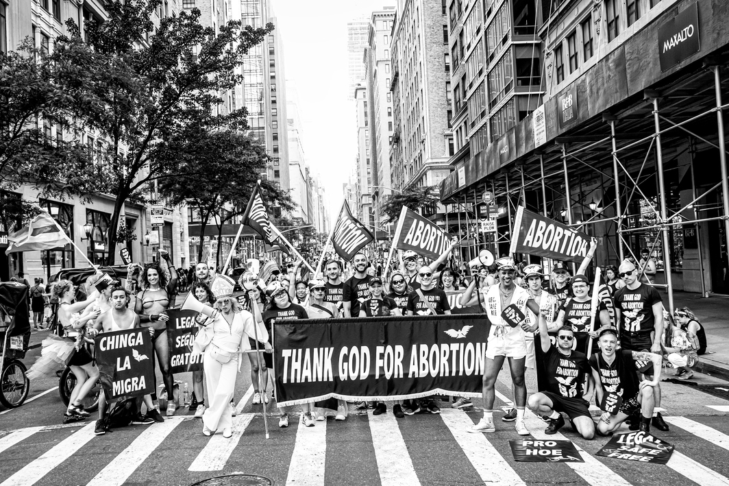 Viva Ruiz, Thank God for Abortion, Pride, 2019, vinyl installation. 79 1/2 x 53''.
