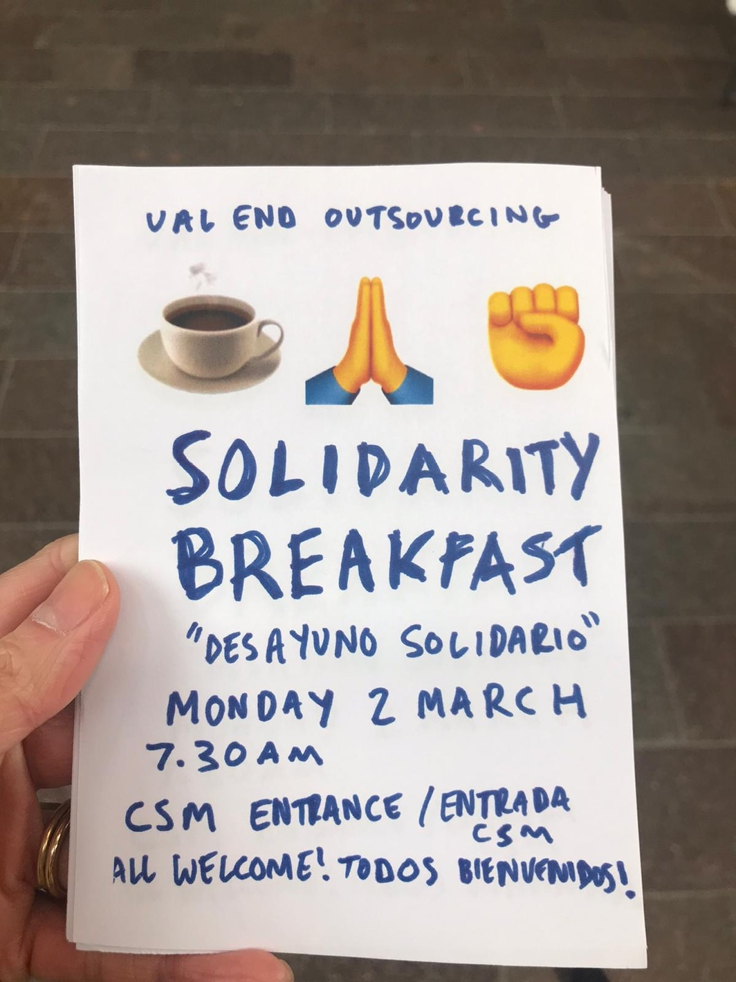 """Solidarity breakfast"" flier from Central Saint Martins, University of the Arts London."