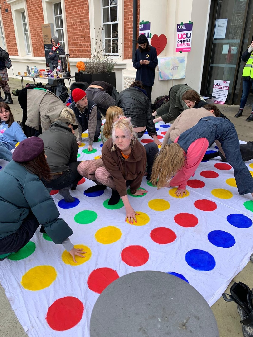 Twister on the picket line at Goldsmiths, University of London.