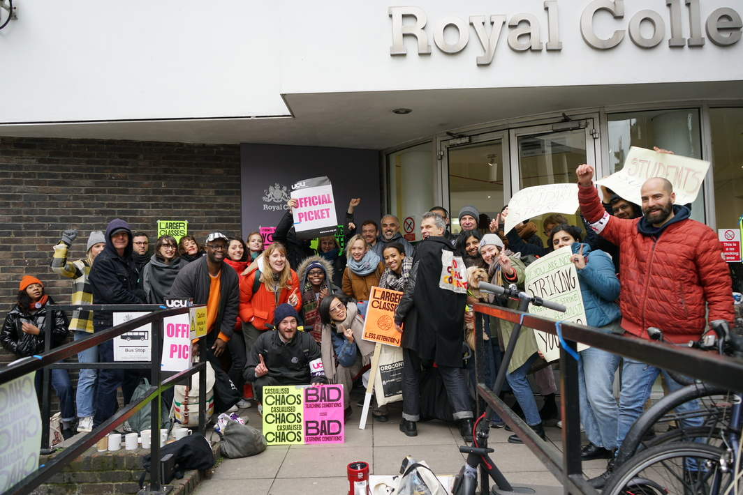 Picket line at the Royal College of Art in London.