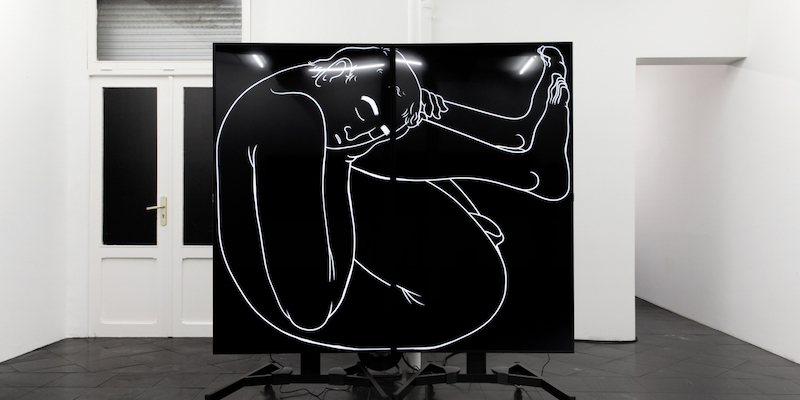 "Özgür Kar, it is all in his head, 2020, two looped 4K videos with sound, 35 minutes, two 75"" televisions, television stands, media players, extension cords, 77 1/8 x 75 5/8 x 27 1/2""."