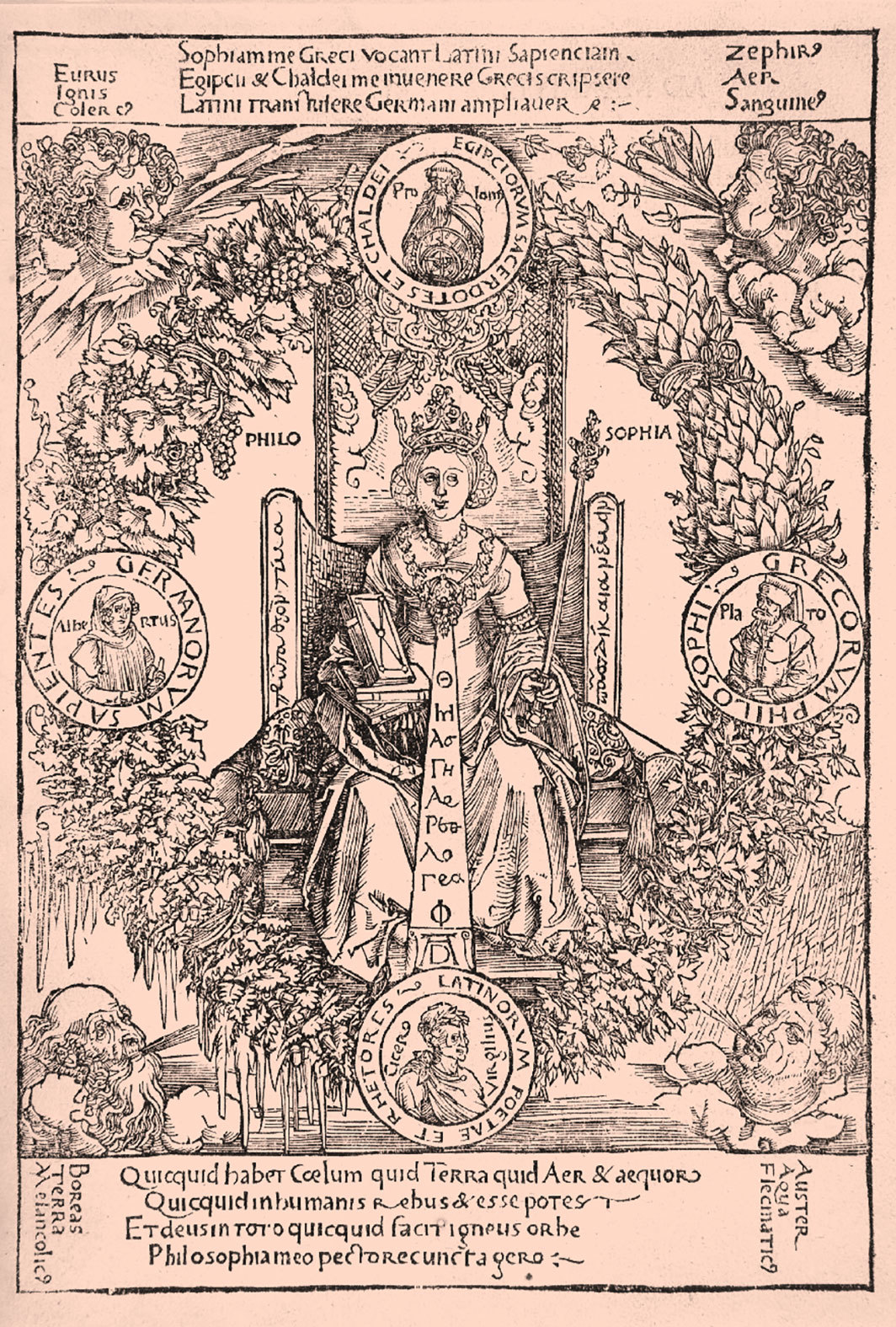 Albrecht Dürer, Philosophia, ca. 1502, woodcut on paper, 8 1⁄2 × 5 7⁄8""