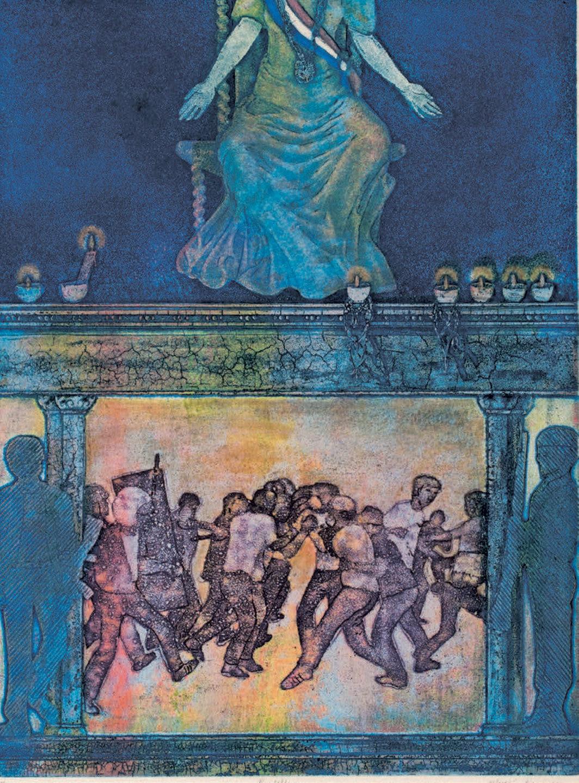"Ofelia Gelvezon-Téqui, Predella, 1984, etching on paper, 12 5⁄8 × 9 5⁄8""."