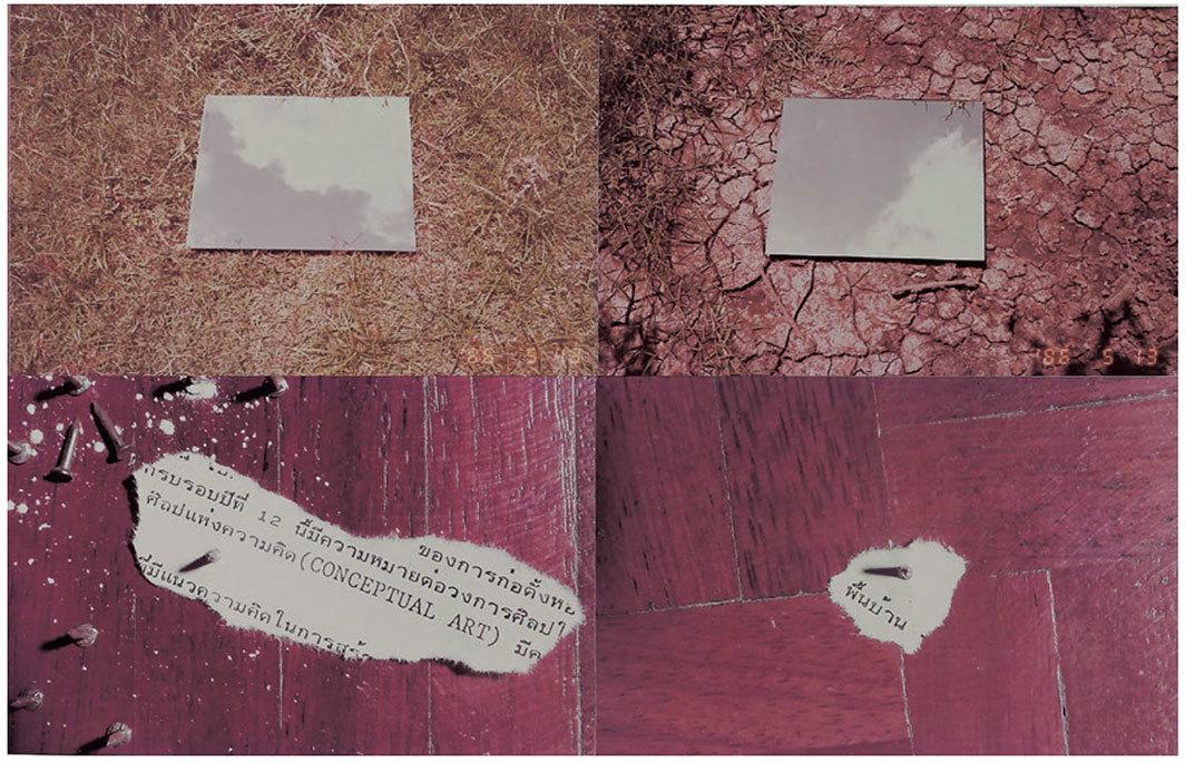 "Pramuan Burusphat, Conceptual Art: Folk-Thai-Time (detail), ca. 1985–86, C-prints and pencil on paper, three parts, each 23 5⁄8 × 43 1⁄4""."