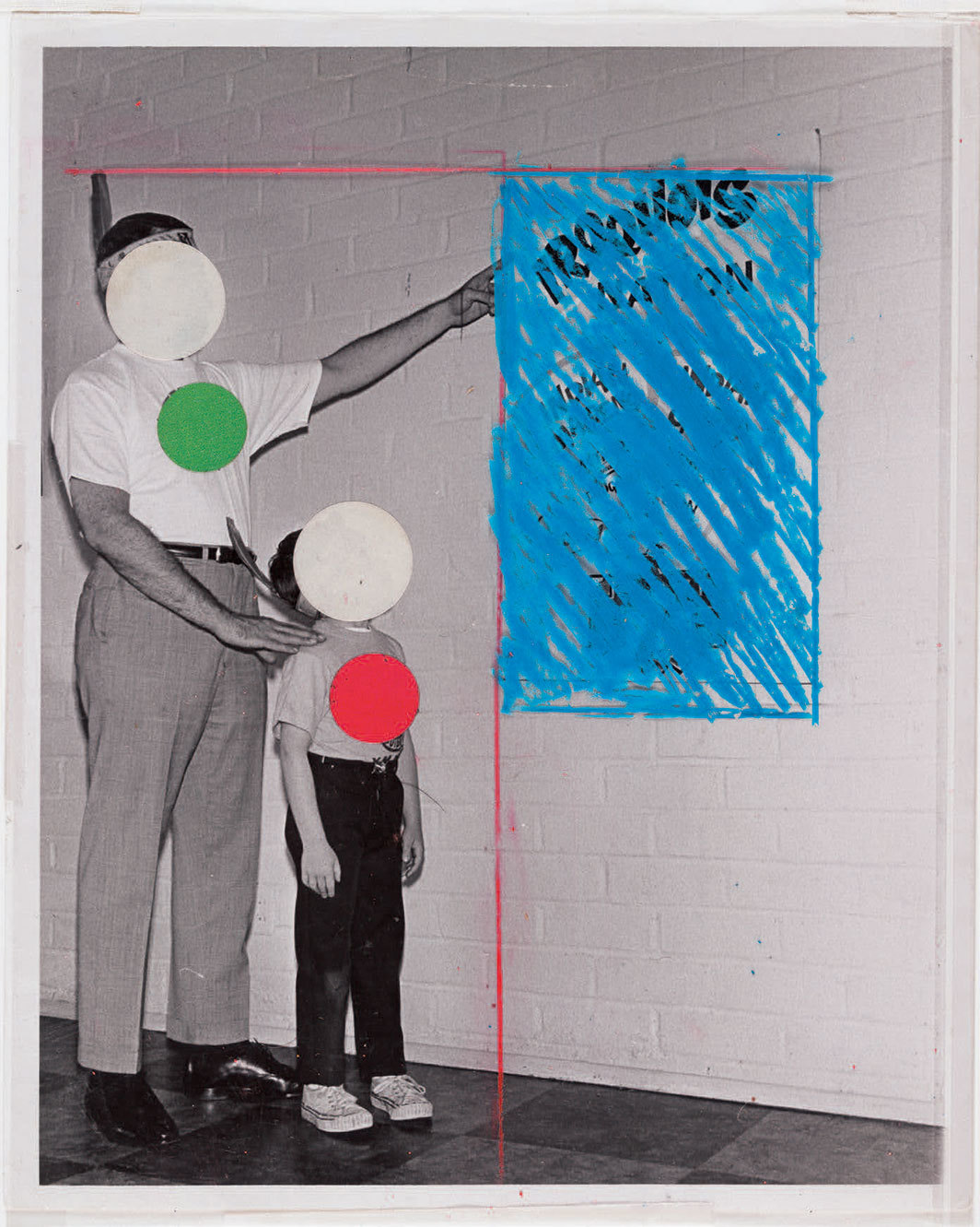 "John Baldessari, Untitled, 1986, crayon and stickers on synthetic-polymer sheet over gelatin silver print, 9 4⁄3 × 7 3⁄8"". © Estate of John Baldessari."