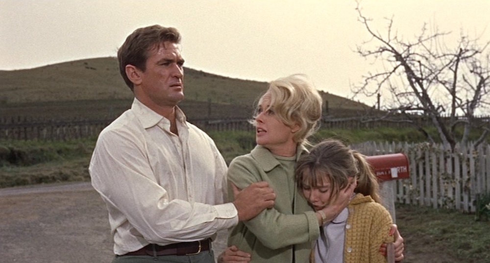 Alfred Hitchcock, The Birds, 1963, 35 mm color, sound, 119 minutes. Mitch Brenner and Melanie Daniels (Rod Taylor and Tippi Hedren).