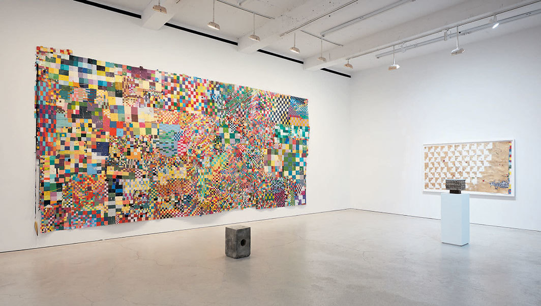 "View of ""William Cordova,"" 2020. Foreground from left: untitled (cajon), 2018; untitled (rouse), 2019. Background from left: untitled (el quinto suyo) (Untitled [The Fifth City]), 2018–19; untitled (ruling principles of the universe), 2018–19."