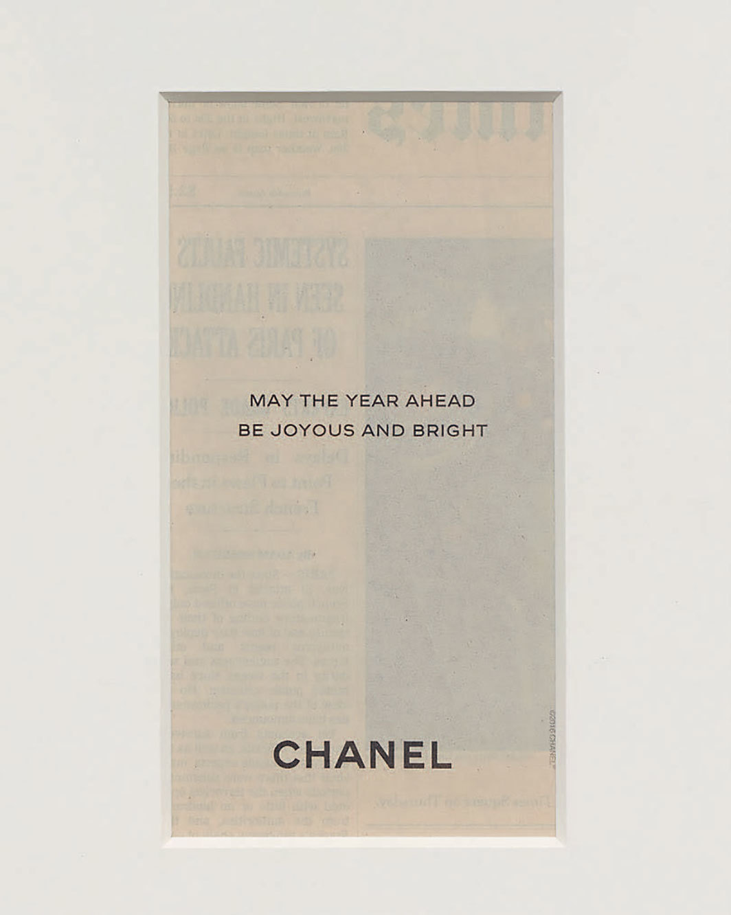 "Troy Brauntuch, Chanel, 2020, newspaper advertisement clipped from a 2016 copy of the New York Times, 16 × 12 3⁄4""."