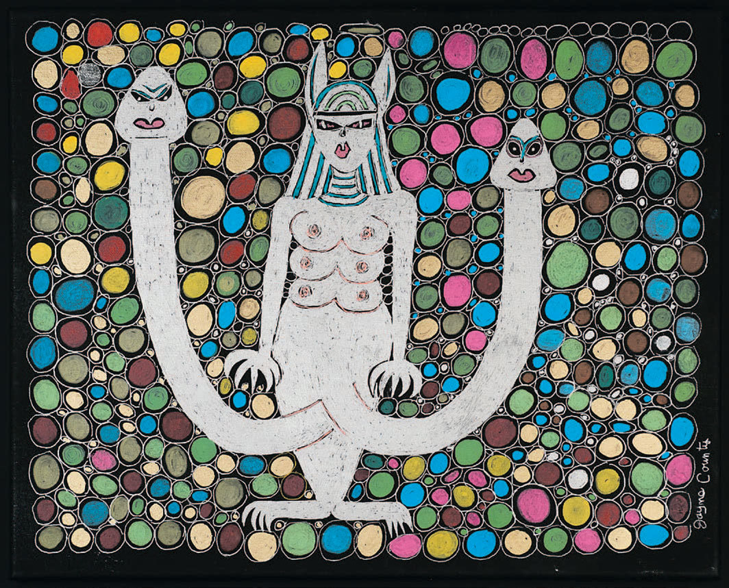 "Jayne County, Silver Bastet 46 1/8, 2019, acrylic and ink on canvas, 16 × 20""."
