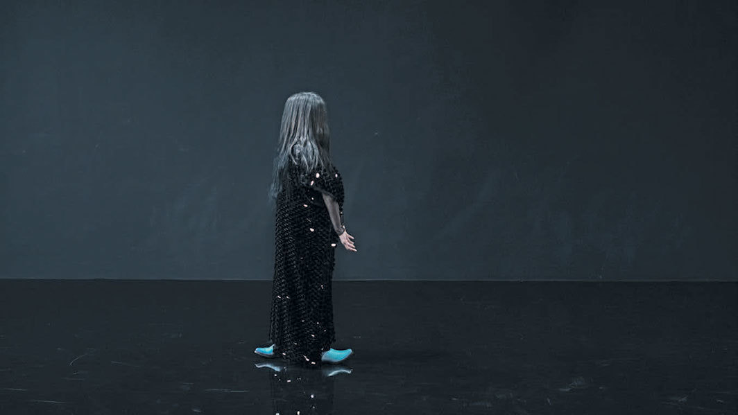 Pauline Boudry and Renate Lorenz, Moving Backwards, 2019, HD video projection, color, sound, 20 minutes.