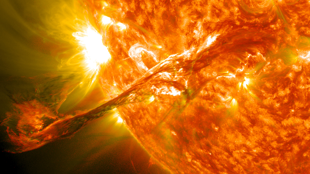 A coronal mass ejection from 2012. Source: Wikipedia.