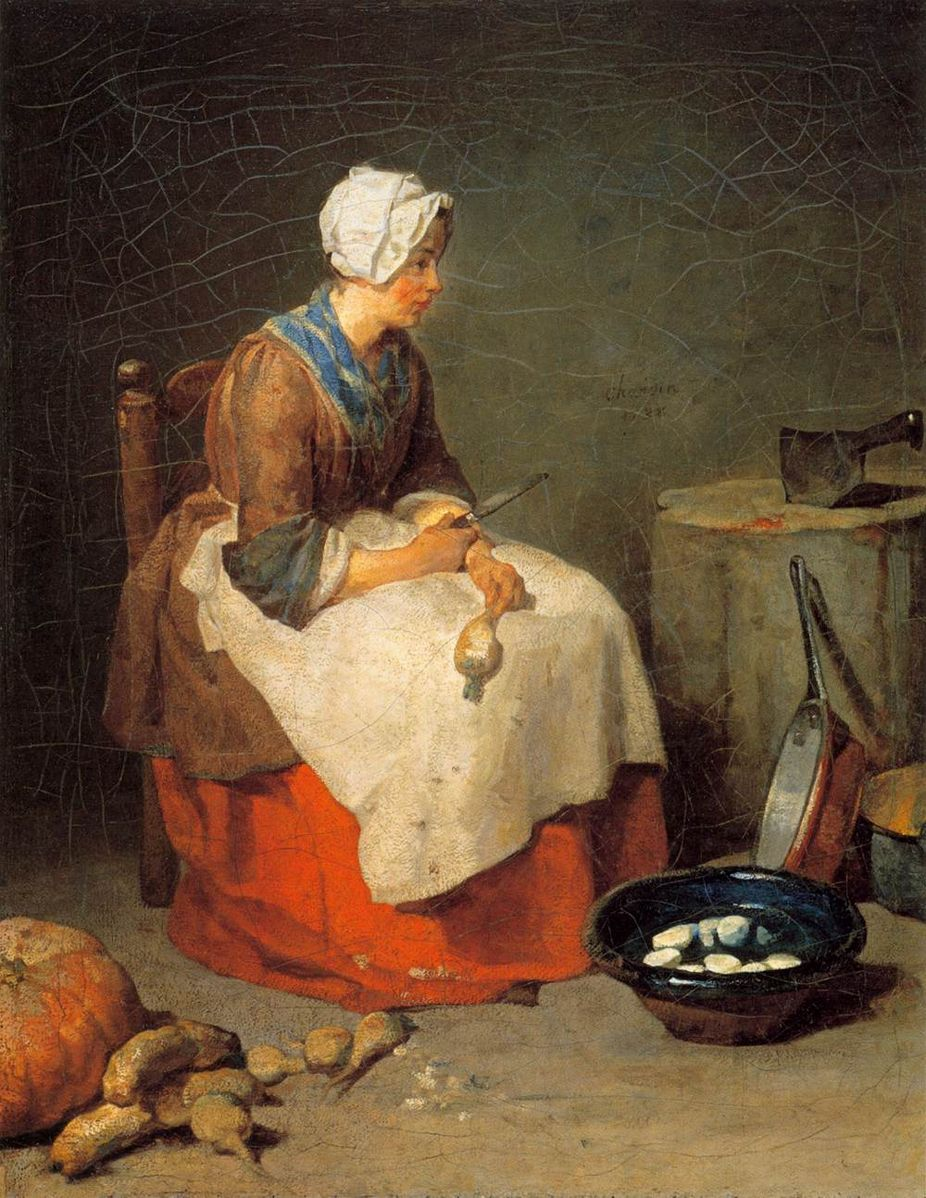 Jean-Baptiste-Siméon Chardin, The Kitchen Maid, 1738, oil on canvas, 18 1/8 x 14 3/4''. National Gallery of Art, Washington D.C.