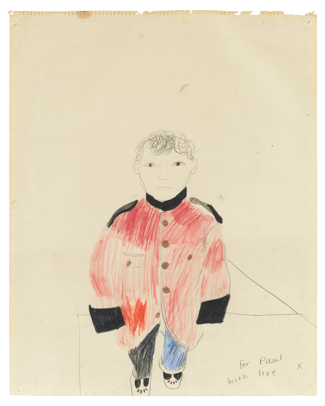 "David Hockney, For Paul With Love David, 1965, colored crayon on paper, 19 7/8 x 15 7/8"".  © David Hockney. Courtesy of Kasmin Gallery."