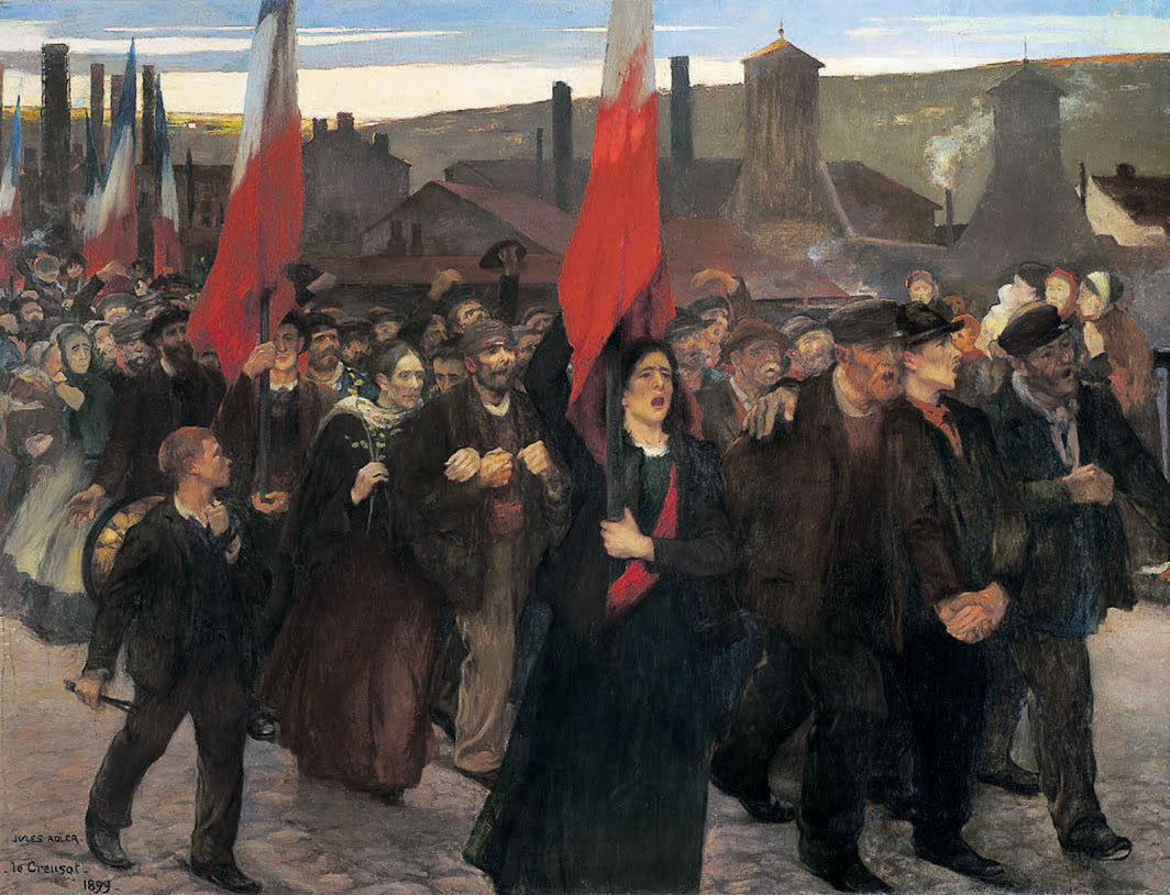 "Jules Adler, La grève au Creusot (The Strike at Creusot), 1899, oil on canvas, 91 × 118 7⁄8""."