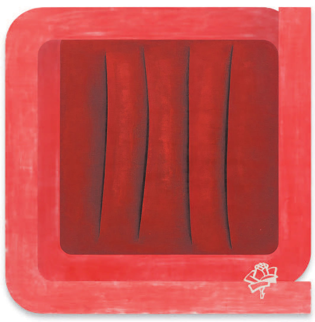 "Susanne Paesler, o. T. (Untitled), ca. 1998, lacquer and foil on aluminum, 59 × 59""."