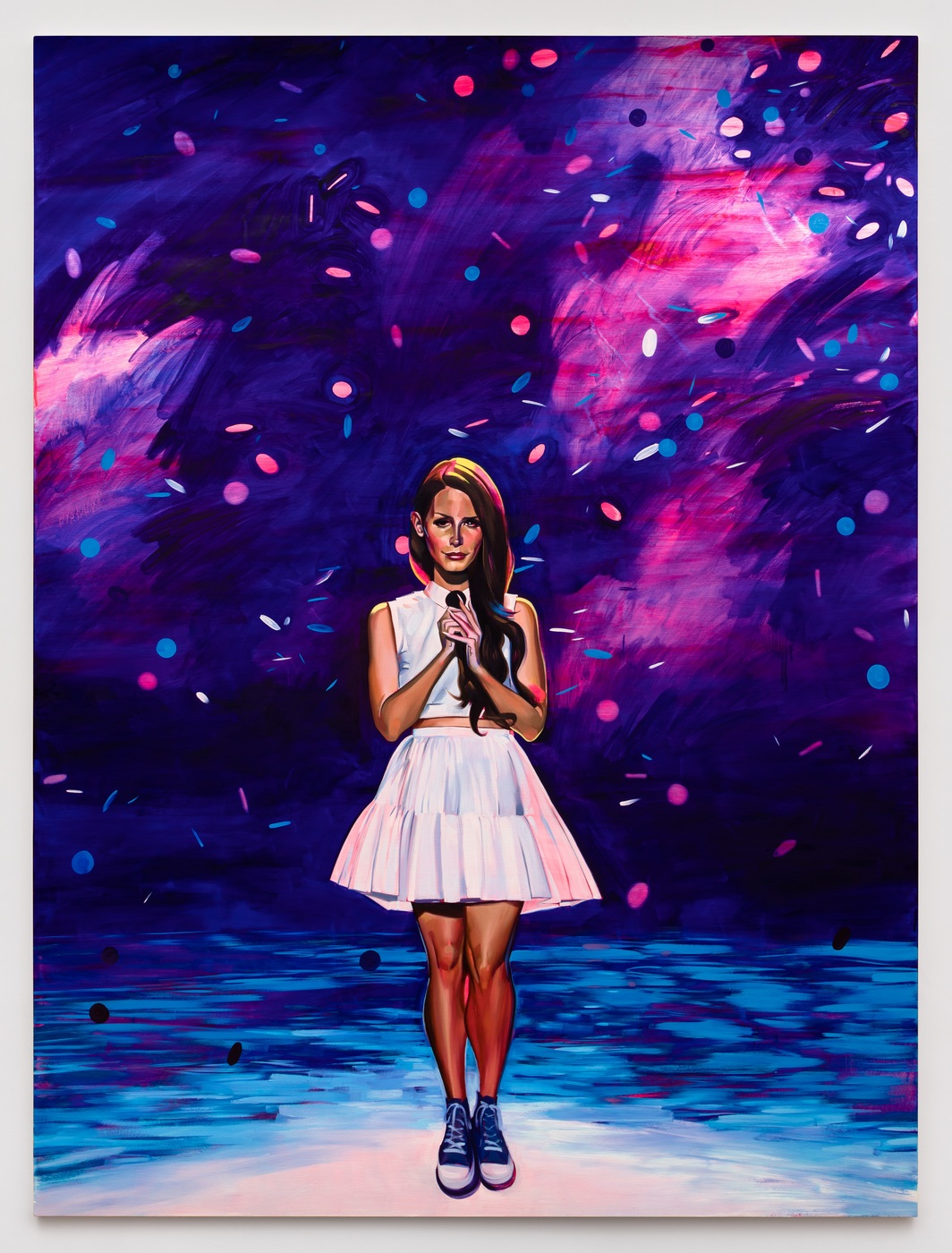 "Sam McKinniss, American Idol (Lana), 2018, oil and acrylic on canvas, 96 x 72"". Courtesy of the artist, JTT, and Almine Rech."