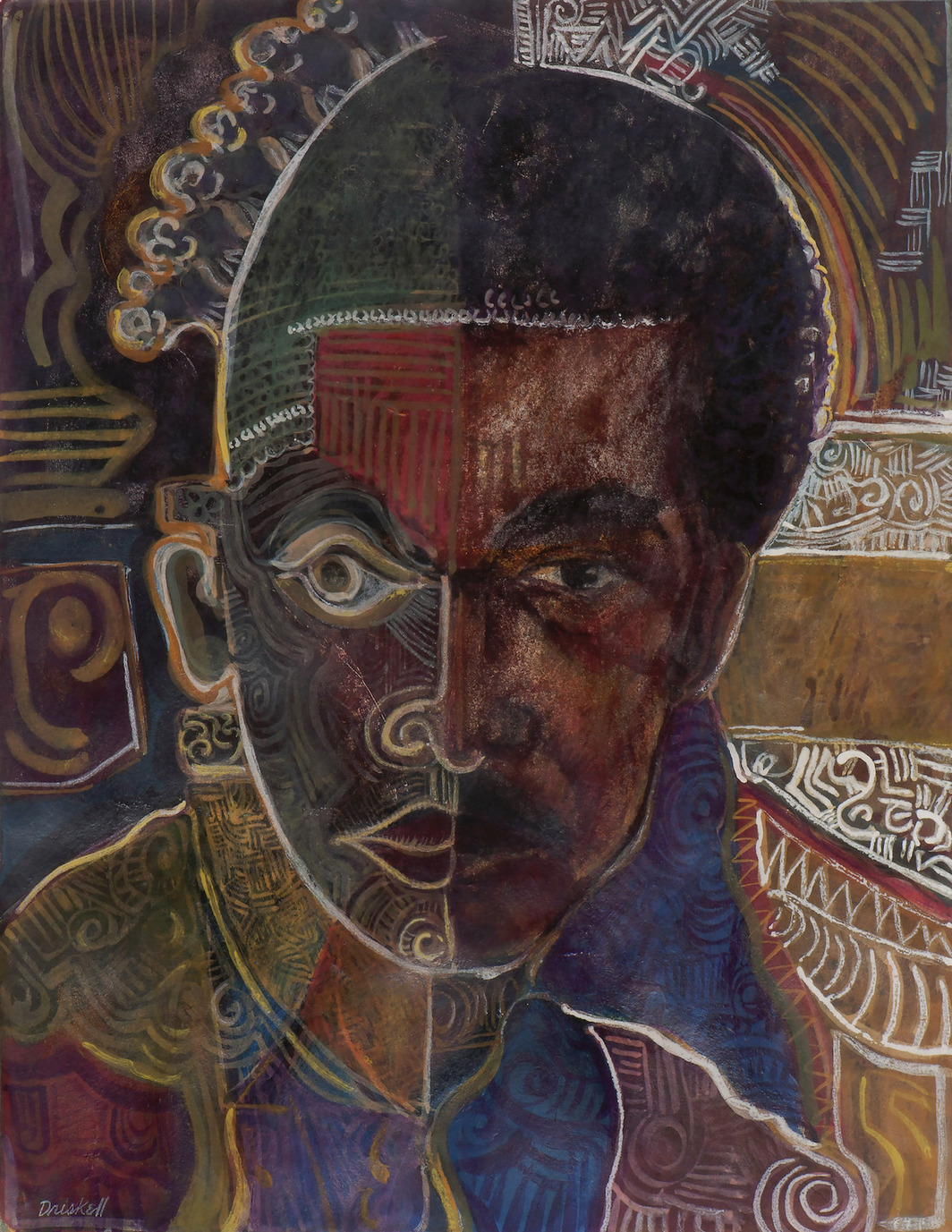 "David Driskell, Self Portrait as Beni (""I Dream Again of Benin""), 1974, egg tempera, gouache, and collage on paper, 17 x 13"". Courtesy: High Museum of Art, Atlanta/DC Moore, New York."
