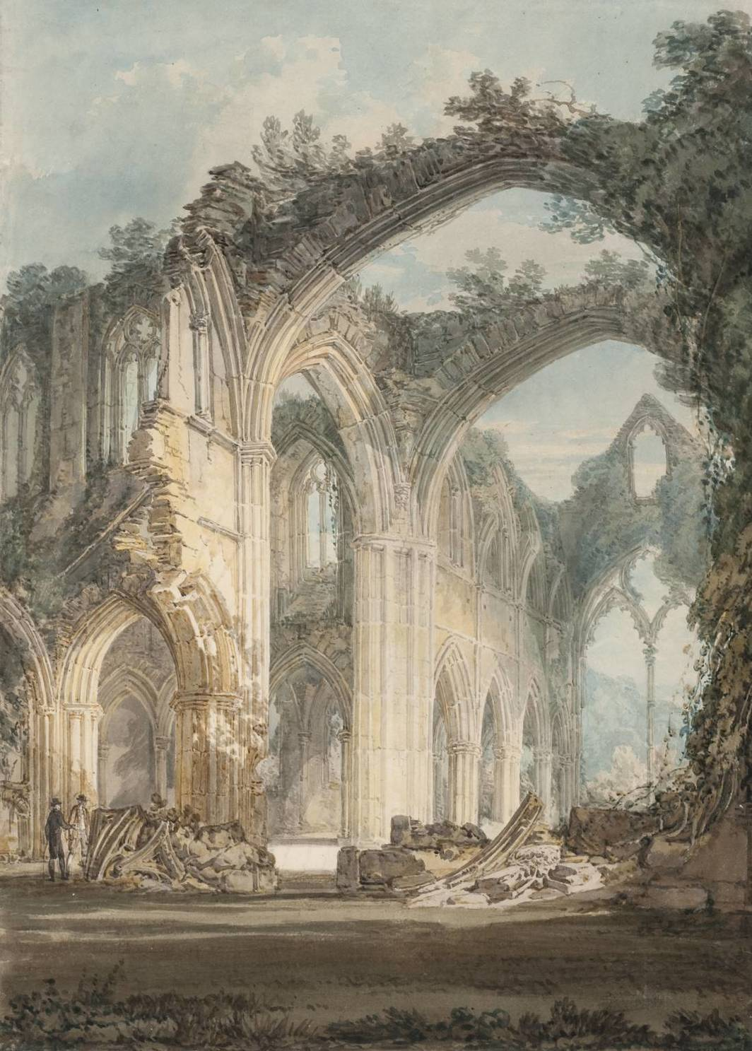 J. M. W. Turner, Tintern Abbey: The Crossing and Chancel, Looking towards the East Window, 1794, graphite and watercolor on paper.