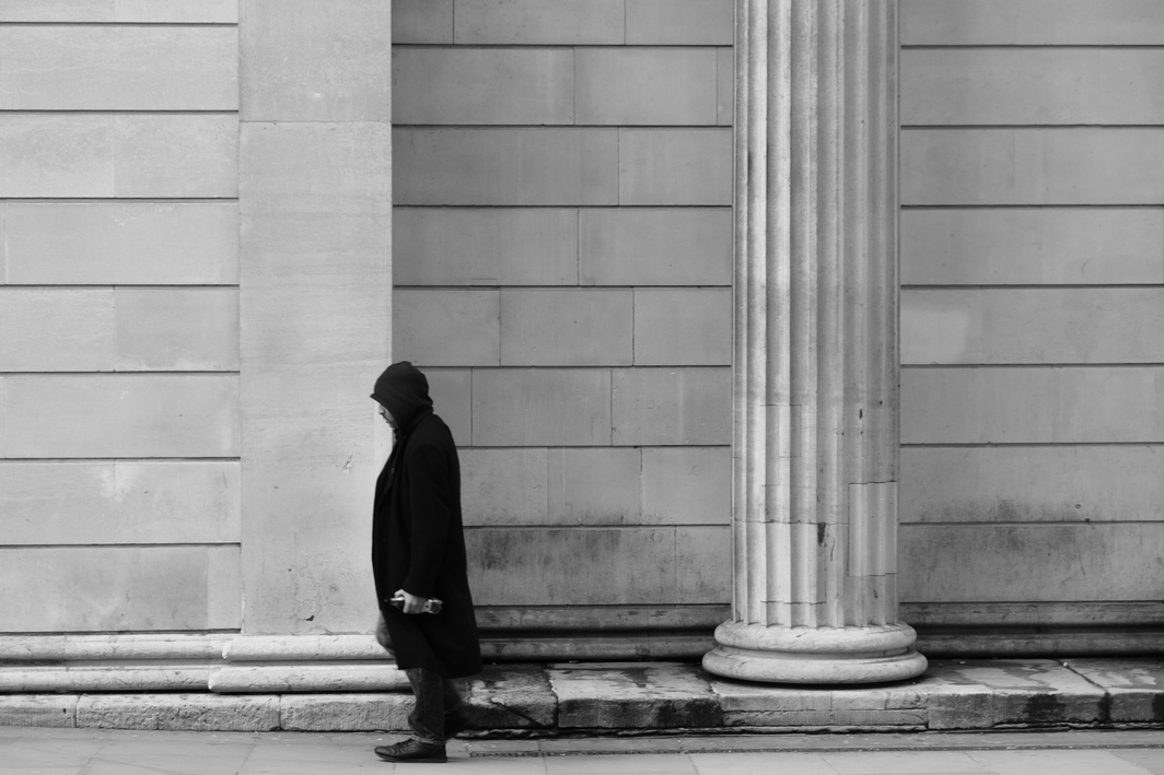 Figure standing near the Bank of London. Photo: Steve Nimmons.