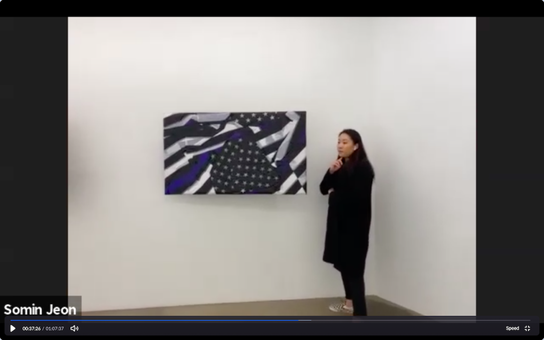 "Screenshot of walk-through of ""Alternative Facts"" by Josh Kline at VSF Seoul as seen through Zoom on Friday, April 10, 2020."