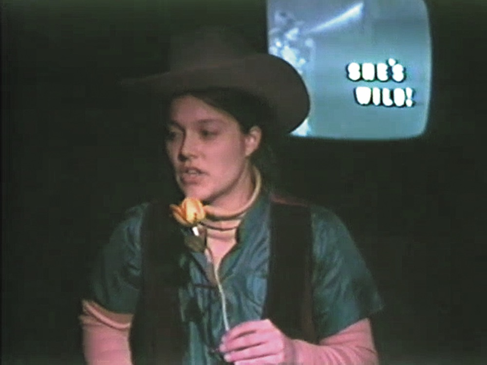 "Anne Klingensmith performing ""Cannibal Cowgirl,"" 1981."