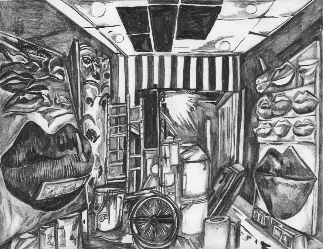 "Maria Calandra, Gina Beavers's Studio, 2020, graphite on paper, 8 1/2 x 11"". This drawing was made while spending an afternoon in Gina Beavers's studio over Zoom. It is for my project Pencil in the Studio, in which I visit with artists for the day and draw their studio and art. The project was started in 2011 and there have been nearly 100 visits to date. Because the community of artists is so important to me and my work, at first it was challenging to operate under stay at home. I was relieved to find that technology, in this instance, could help enable a connection between myself and another artist that was not far from a visit in real life.   You can see more of my work for this project at pencilinthestudio.com."