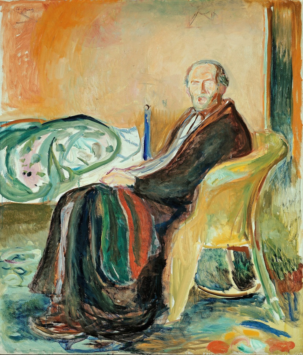 Edvard Munch, Self-Portrait with the Spanish Flu, 1919, oil on canvas, 59 x 51 5/8''. National Gallery, Oslo.