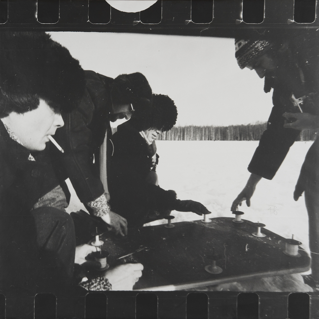 "Collective Actions Group, Action 16: Ten Appearances, February 1, 1981, 1981, gelatin silver print on paper mounted on cardboard, 38 1/16 × 38 1/4"". Collection Zimmerli Art Museum at Rutgers University, Norton and Nancy Dodge Collection of Nonconformist Art from the Soviet Union. Photo: Peter Jacobs."
