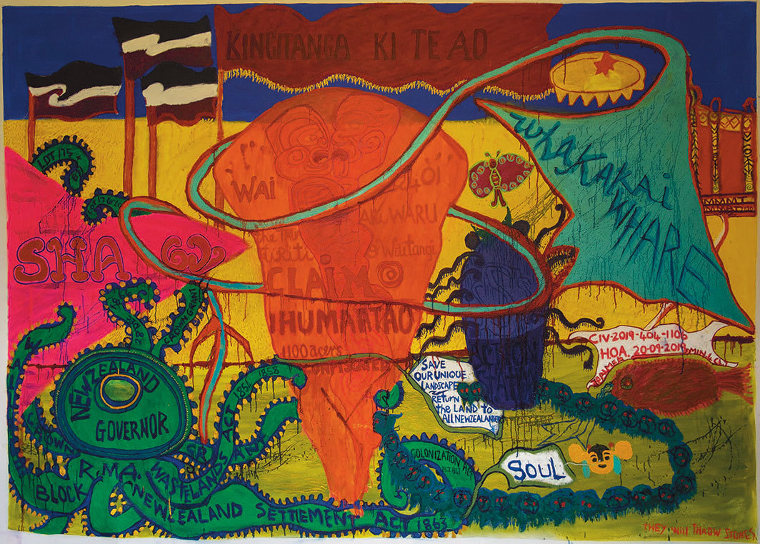 "Emily Karaka, Kingitanga ki Te Ao (They Will Throw Stones), 2020, mixed media on canvas, 78 3⁄8 × 109""."