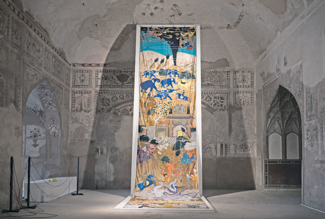 Khadim Ali, Invisible Border, 2020, tapestry. Installation view, Summer Palace.