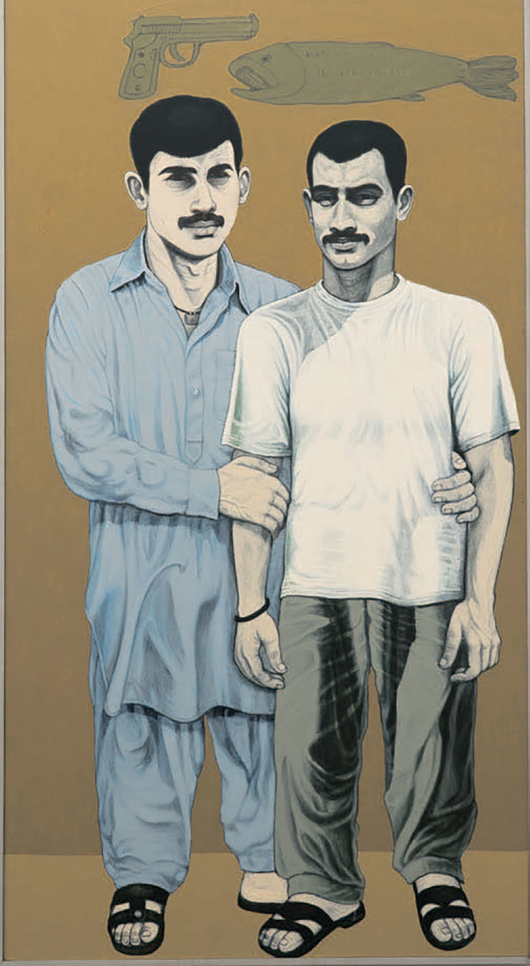 "Anwar Saeed, Temporary Situations II, 2012, acrylic and charcoal on canvas, 78 × 36""."