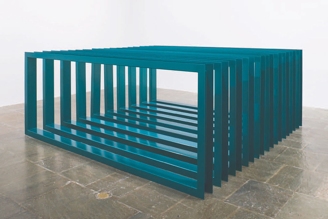 "Donald Judd, untitled, 1966, turquoise enamel on aluminum, ten parts, each 48 × 120 × 6 5⁄8"". Photo: Sheldan C. Collins. © Judd Foundation/Artists Rights Society (ARS), New York."