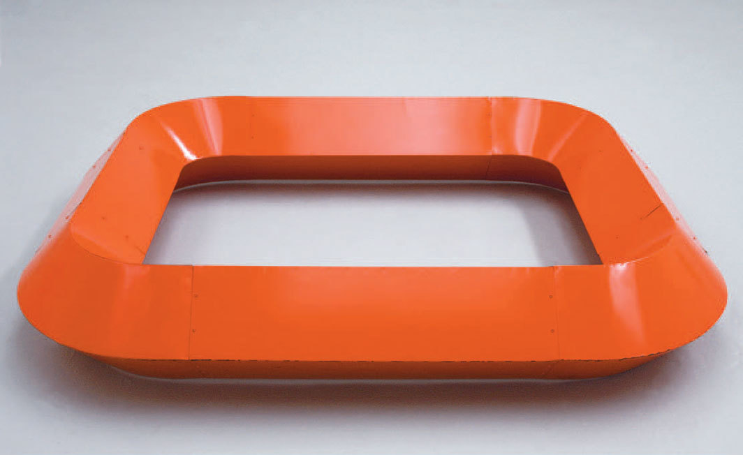 "Donald Judd, untitled, 1964, cadmium red light enamel on galvanized iron, 15 1⁄2 × 93 × 78"". © Judd Foundation/Artists Rights Society (ARS), New York."