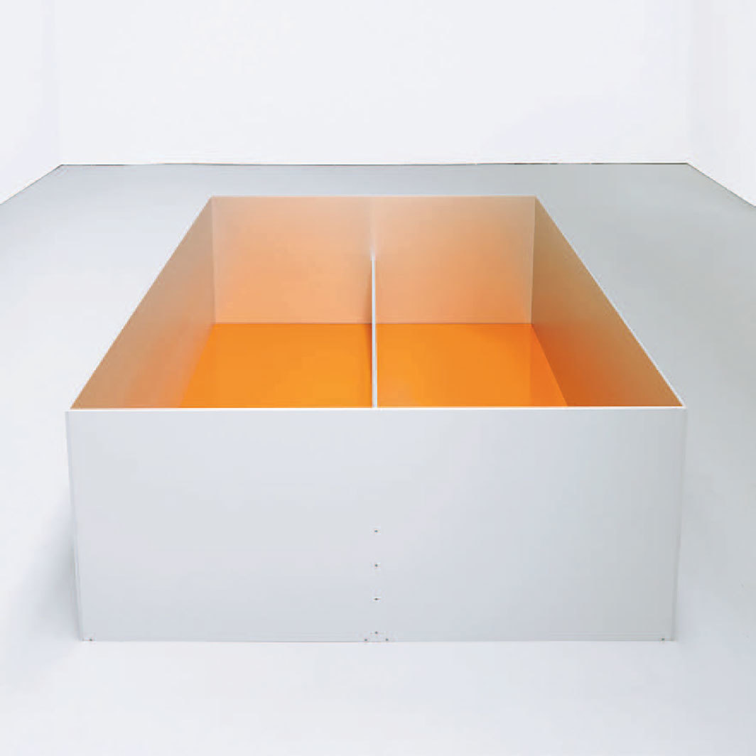 "Donald Judd, untitled, 1989, clear anodized aluminum, amber acrylic sheet, 39 3⁄8 × 78 3⁄4 × 78 3⁄4"". © Judd Foundation/Artists Rights Society (ARS), New York."