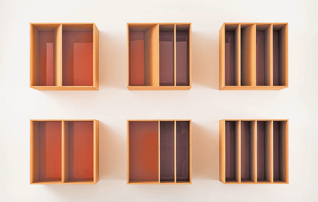 "Donald Judd, untitled, 1986, Douglas fir plywood, orange Plexiglas, six parts, each 39 3⁄8 × 39 3⁄8 × 29 1⁄2"". © Judd Foundation/Artists Rights Society (ARS), New York."