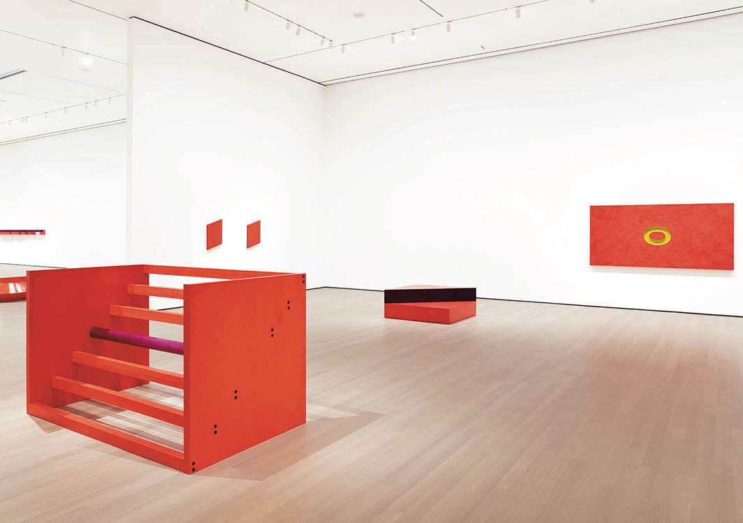 "View of ""Judd,"" 2020, Museum of Modern Art, New York. From left: untitled, 1963/1975; untitled, 1963; untitled, 1963; untitled, 1963; untitled, 1962. Photo: Jonathan Muzikar. © Judd Foundation/Artists Rights Society (ARS), New York."