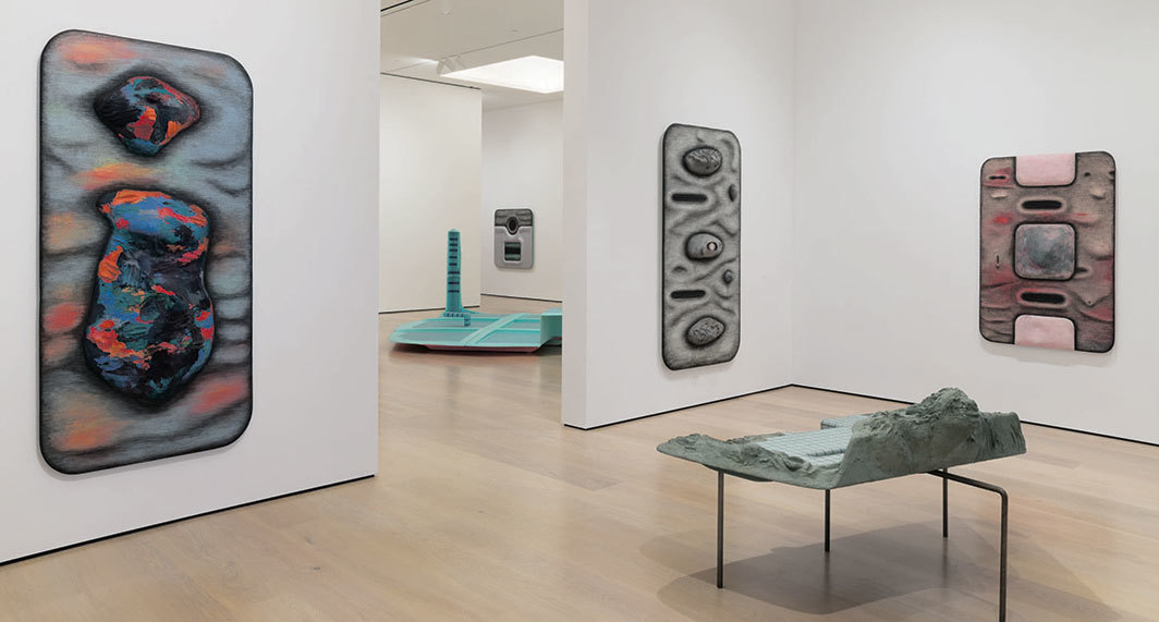 "View of ""Tishan Hsu: Liquid Circuit,"" 2020, Hammer Museum, Los Angeles. Wall, from left: Nessea, 1984; Closed Circuit II, 1986; Squared Nude, 1984; Couple, 1983. Floor, foreground: Heading Through, 1984. Floor, background: Ooze, 1987. Photo: Jeff McLane."