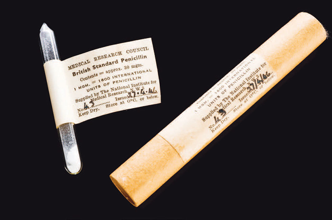 One-milligram glass vial of penicillin, London, 1946. Photo: Science Museum, London.