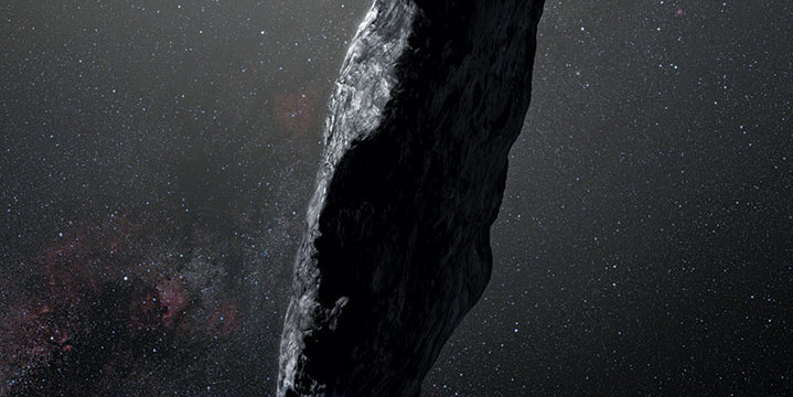 Selected by Peter Saville: Artist's impression of 'Oumuamua, the first known interstellar object detected in our solar system, 2017. Photo: ESO/M. Kornmesser.