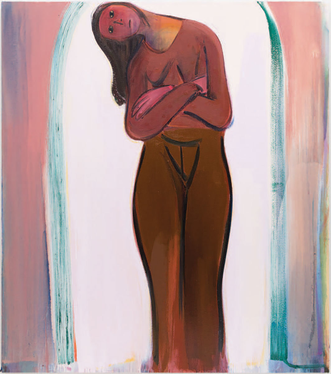"Heidi Hahn, Folded Venus/Pomaded Sweater #3, 2020, oil on canvas, 68 × 60"". From the series ""Folded Venus/Pomaded Sweater,"" 2019–20."