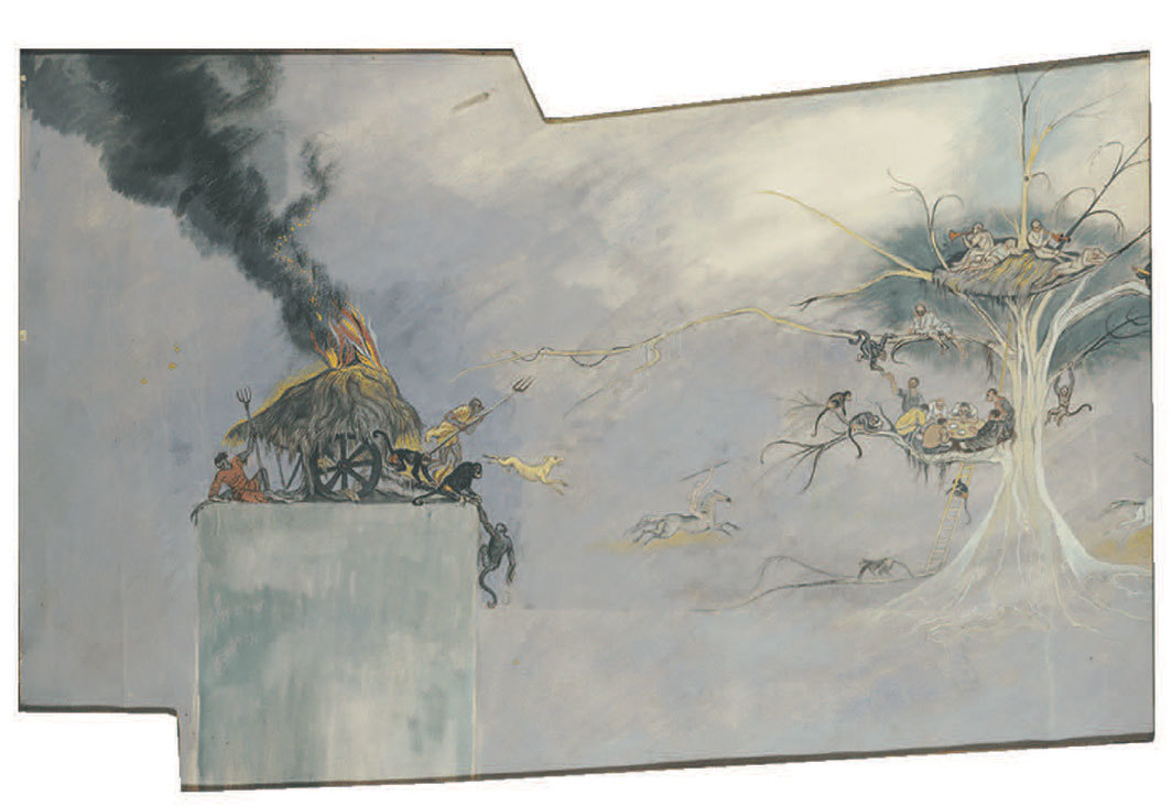 "Kristians Tonny, Sketch for a Mural in Avery Auditorium (Right Wall with Volcano), 1937, watercolor on paper, 21 3⁄4 × 37 1⁄4"". From ""Other Points of View."""
