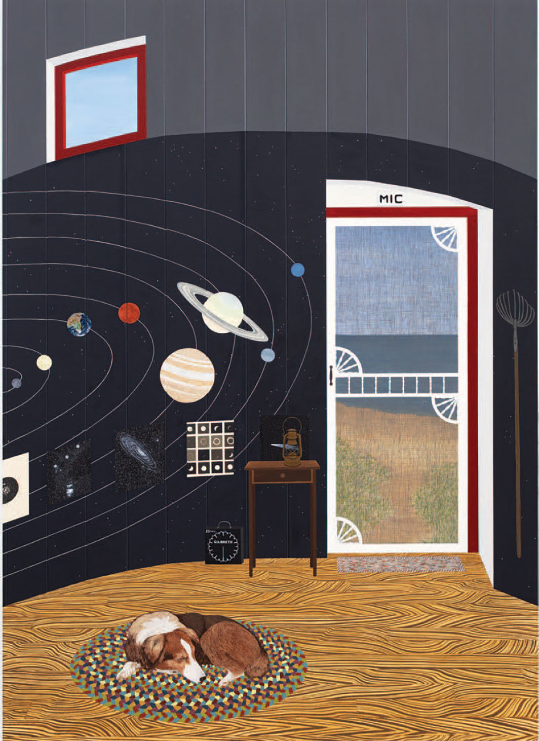 "Becky Suss, Mic (Lighthouse with Solar System), 2019, oil on canvas, 84 × 60""."