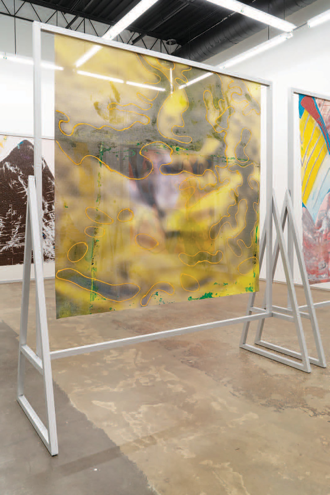 "View of ""Candida Alvarez,"" 2020. Foreground: Jellow, from Air Paintings (2017–2019), 2018."