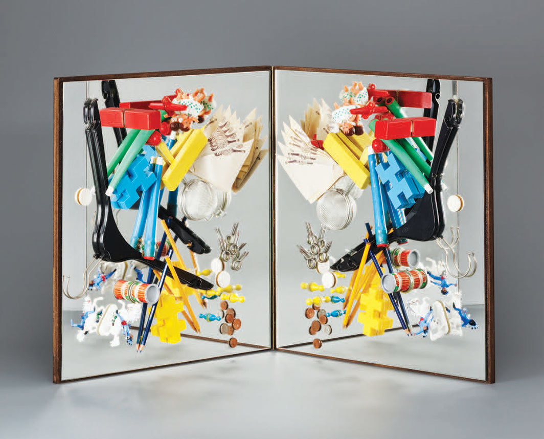 "Daniel Spoerri, Spiegelobjekt (Mirror Object), 1964, two mirrors, wooden boards, found objects, 19 3⁄4 × 39 3⁄8 × 3 1⁄8"". From ""Multiplied: Edition MAT and the Transformable Work of Art, 1959–1965."""