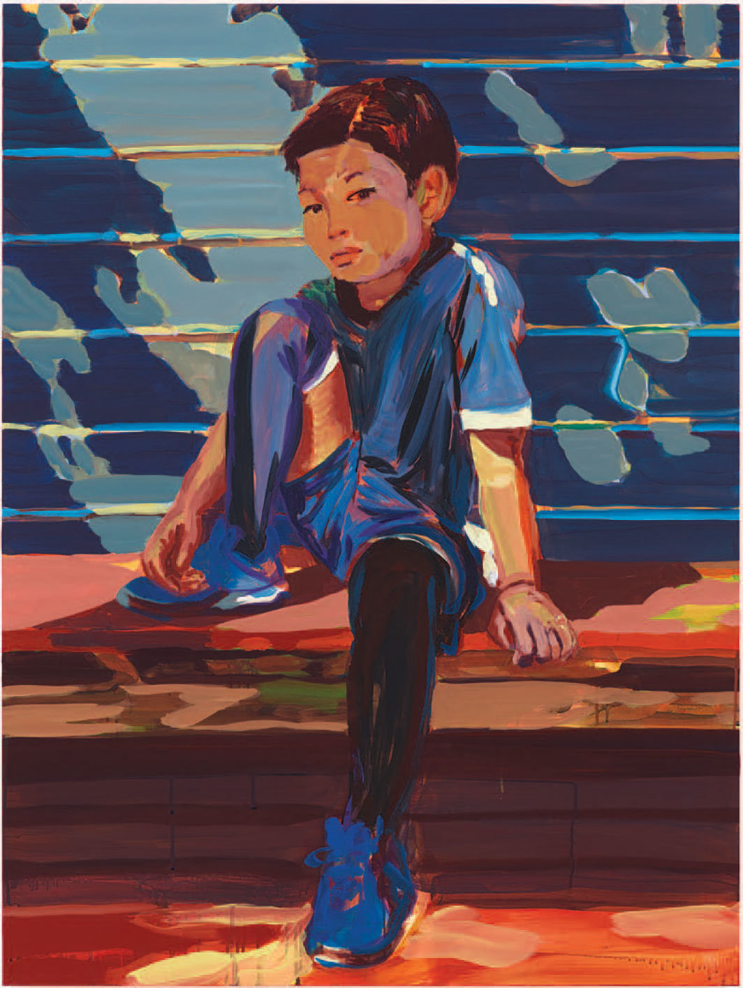 "Claire Tabouret, Tegyu in his soccer outfit, 2020, acrylic on panel, 48 × 36""."